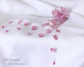 Japanese Tsumami Kanzashi Pink WaterFlower Resin HairPin Hair Stick Sparkling Wire Wrapped Long