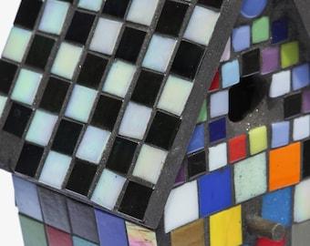 Birdhouse, mosaic birdhouse, glass bird house with base, Colorful Mosaic Birdhouse, vitreous glass, mosaic art.