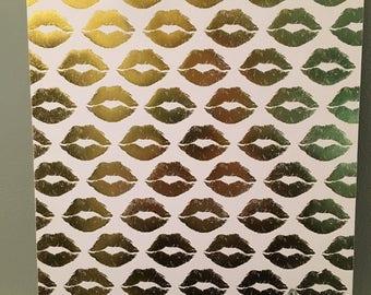Gold Lips custom clipboard, business accessories, gold desk accessories , business gift, mom organization, pink lips pattern clipboard