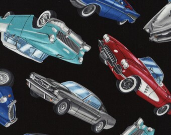 Car Fabric, Hot Rod Fabric, Oldies, Classic Cars by Timeless Treasures, Cotton Fabric,  1 Yard
