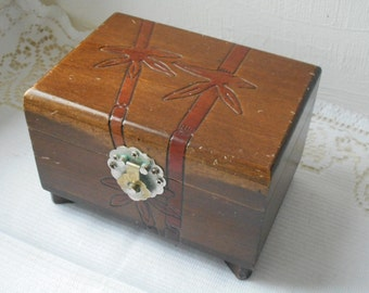 vintage French hand made wooden trinket box / jewelry box