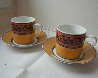 set of two vintage Limoges porcelain decorative demitasse cups & saucers