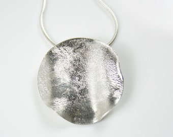 Rippled Textured Sterling Silver Statement large Pendant