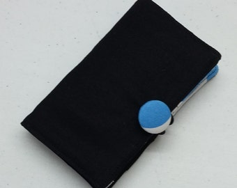Tea Bag Wallet in Black with Blue Apple Contrast