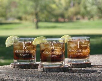 6 Groomsmen Scotch Glasses, Whiskey Glass, Groomsmen Gift, Groomsman Rocks Glass, Wedding Party Favors, Rustic Groomsman Glass, Bourbon
