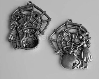 5 Witch Cobweb Cauldron Tibetan Silver Charms (367)