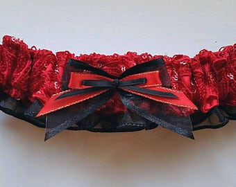Red Roses Sequin Embellished Prom Garter
