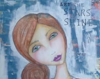 Let the Stars Shine 12x24 mixed media whimsical girl painting 245-0116