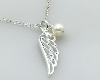 Miscarriage Necklace - Angel Wing Necklace - Memorial Necklace - Available Sterling Silver and Rose Gold