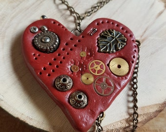 Handmade Polymer clay Steampunk red loveheart necklace