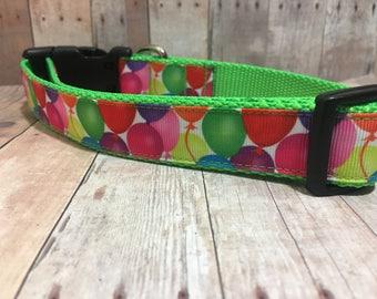"The Shannon | Designer 1"" Width Dog Collar | CupcakePups Collars | Birthday Balloons Medium/Large Dog Collar"