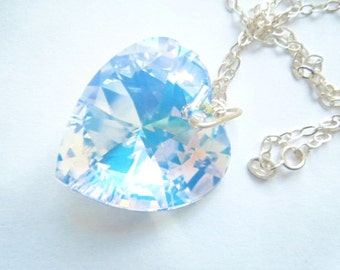 Large Swarovski crystal heart on sterling silver chain.