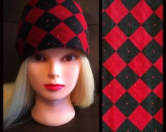 Black and red checkered Bling Bandana