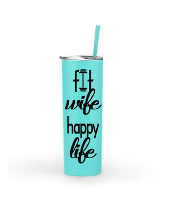 Fit Wife Happy Life - 20oz. Stainless Steel Tumbler