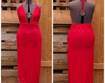 Vintage 1970s / 1980s Red Backless Full Side Slit Disco Dress Negligee / Night Gown