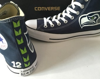 Seattle Seahawks Converse Shoes, Handpainted Seahawks Shoes, Seahawks Converse shoes