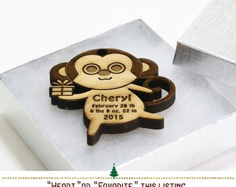 Baby Monkey Personalized Christmas Ornaments, Babys First Christmas Ornament, New Baby Gift, Baby Boy or Baby Girl Nursery Decor -SKU330
