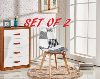 Set Of 2 Patchwork Scandinavian Chair Modern Living Room Dining Room Chair Mid Century Design Style