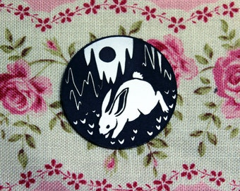 Rabbit in Landscape Pin, black and white, laser cut acrylic