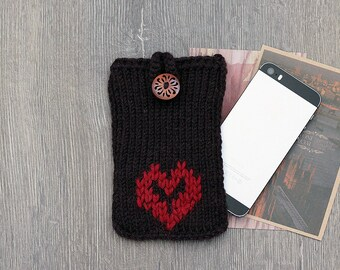 Valentines Day Gift iPhone 7 Plus Knit Case, Knit iPhone 6s Cover, Brown Phone Cozy iPhone Sleeve, iPhone 5 Sock Case iPhone 6s Samsung Sock