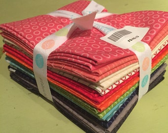 13 polka dot fat quarters, by Riley Blake. Need a color wheel of variety on hand!!! Get this!