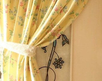 2 pairs of vintage irish linen laura ashley style curtains lemon floral toile curtain drapes