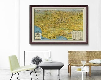 Los Angeles Vintage Map 1932, Vintage LA Panoramic Map, Antique Map Poster, America Map, Vintage Wall Decor- CP095