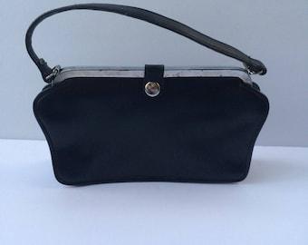Vintage 1950's black handbag purse bag