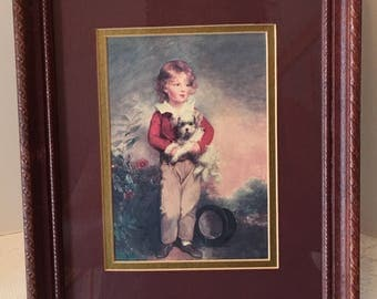 Boy with Dog ~ Fine Art ~ Framed Picture ~ Beaux Arts ~ Made in USA ~ Vintage