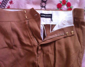 Sonia Rykiel tan crepe short pants / small - medium