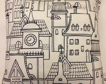 New Handmade City Scene Fabric Cushion Cover, Monochrome, Black & White Scandinavian cushion cover, Contemporary, modern.