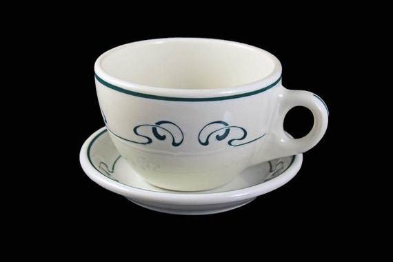 Cup and Saucer, Syracuse China, Restaurant Grade, White with Green Pattern
