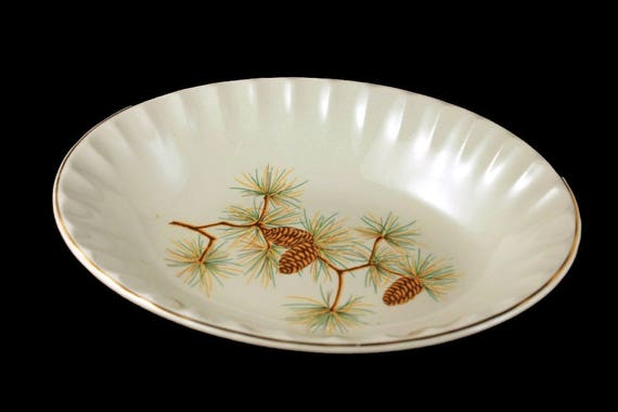 Oval Vegetable Bowl, W S George, Pine Cone Pattern, Bolero Shape, Green Needles, Brown Pine Cones, Gold Trimmed, Serving Bowl
