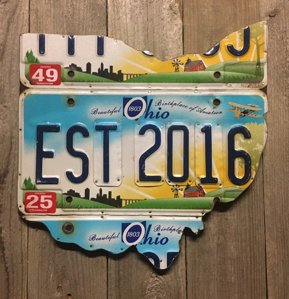 1 Year Anniversary Gift Ohio License Plate Map - Established 2016 - Wall Decor - License Plate Sign - Unique Gift - Anniversary Gift