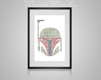 "Personalised Star Wars Boba Fett Word Art **Buy 3 prints get the 4th FREE**  Use coupon code "" MYFREEONE """