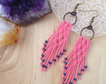 Macrame Earrings Salmon Pink