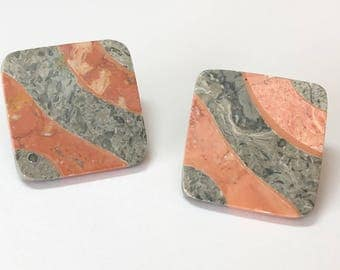 Inlaid Stone Buttons 31mm Square-set of two