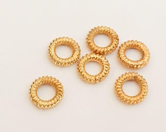 6 vermeil 6mm ring beads spacers