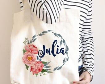 Personalized Floral Tote Bag, Bridesmaid Tote Bag, Bridesmaid Gift, Watercolor Floral Wreath Monogram, Custom Tote Bag, Navy Coral Wedding