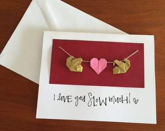 Sloth Pun Love Card | Card for Sloth Lovers | Origami Heart | Romantic Card | Fun Romantic Card | Origami Sloth Valentine's Day Card