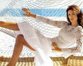 Les femmes chandail de coton d'été en blanc crochet / custom