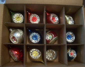 Twelve Assorted Indents Christmas Ornaments