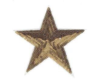 Brown Star - Sequin - Large - Iron on Applique - Embroidered Patch - 604038-A