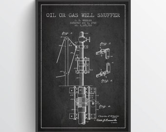 1938 Oil or Gas Well Snuffer Patent, Gas Well Print, Gas Drilling, Gas Drill Art Print, Wall Art, Home Decor, Gift Idea, PFEN18P