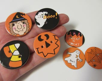 7 LARGE Double Sided Halloween Buttons