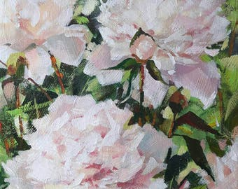 "Cream Pink Peonies Framed Acrylic Painting on Canvas Board 9"" x 12"""