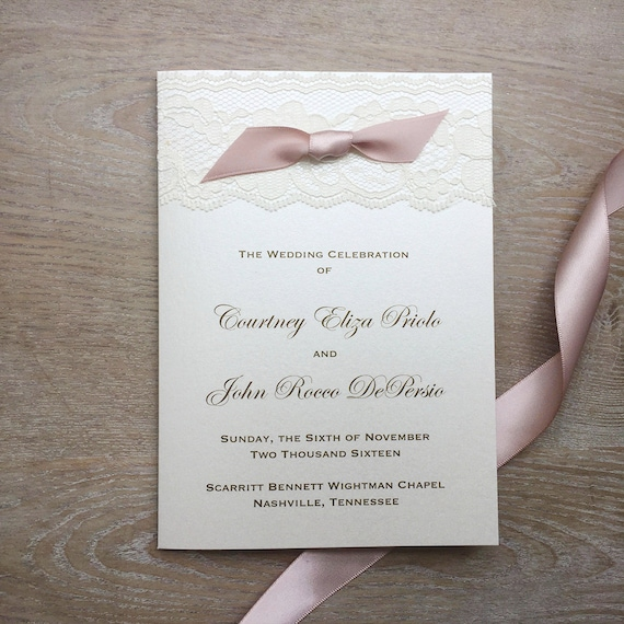 Lace Wedding Program with Bow - Ivory, Gold, and Blush Wedding Program - Church Program - Folding Program - Custom Wording, Colors, & Fonts