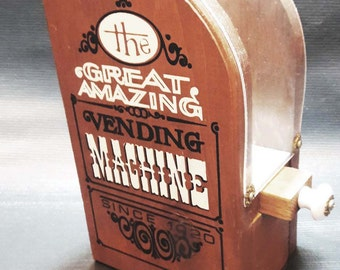 Vintage Great Amazing Vending Machine Wood Gumball Machine