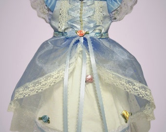 For 18 inch American Girl Doll Clothes - Hand made Blue Garden Tea Party Dress Ensemble