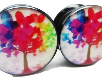 Neon Tree of Life Ear Plugs - Acrylic Screw-On - 8 Sizes Brand New *Pair*
